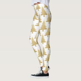 elegant clear gold glitter Christmas tree pattern Leggings