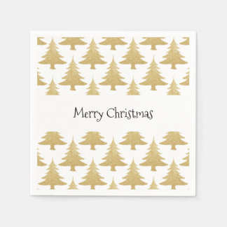 elegant clear gold glitter Christmas tree pattern Paper Napkins