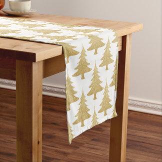 elegant clear gold glitter Christmas tree pattern Short Table Runner
