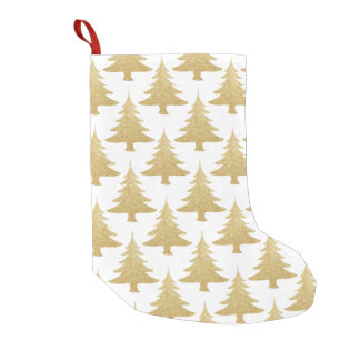 elegant clear gold glitter Christmas tree pattern Small Christmas Stocking