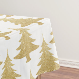 elegant clear gold glitter Christmas tree pattern Tablecloth