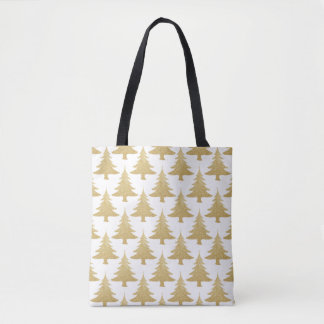 elegant clear gold glitter Christmas tree pattern Tote Bag