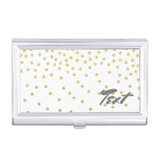 elegant clear gold glitter confetti dots pattern business card holders