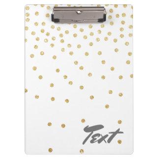 elegant clear gold glitter confetti dots pattern clipboard
