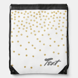elegant clear gold glitter confetti dots pattern drawstring bag