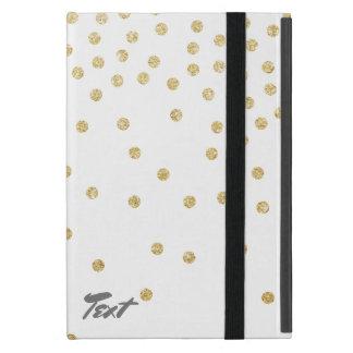 elegant clear gold glitter confetti dots pattern iPad mini case
