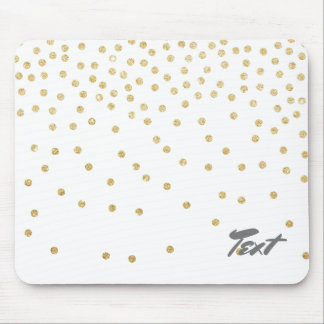 elegant clear gold glitter confetti dots pattern mouse pad