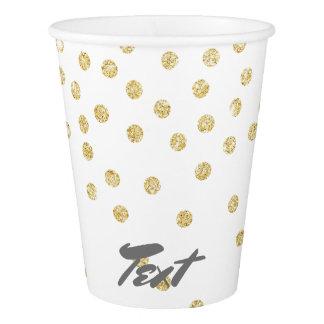 elegant clear gold glitter confetti dots pattern paper cup