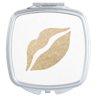elegant clear gold glitter lips mirror for makeup