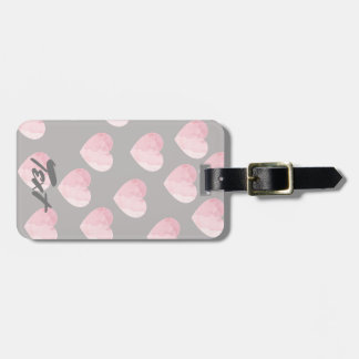 elegant clear light pink love heart pattern luggage tag