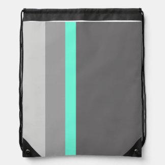 elegant clear mint grey stripes drawstring bag
