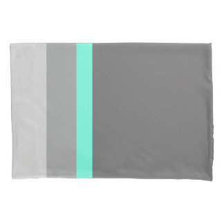 elegant clear mint grey stripes pillowcase