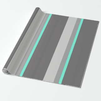 elegant clear mint grey stripes wrapping paper