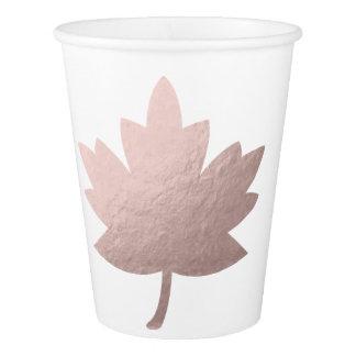 elegant clear rose gold foil leaf paper cup