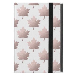elegant clear rose gold foil leaves iPad mini case