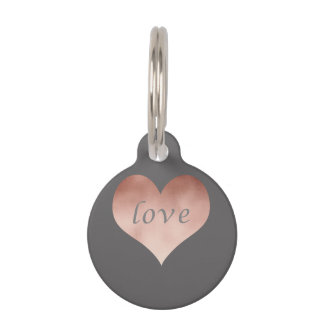 elegant clear rose gold foil love text heart pet ID tag