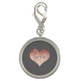 elegant clear rose gold foil love text heart photo charm
