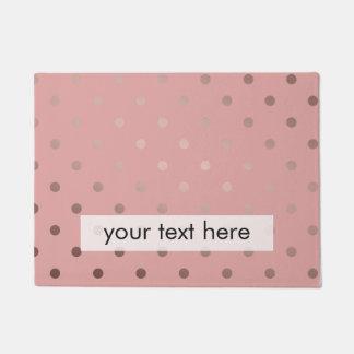 elegant, clear rose gold foil polka dots pattern doormat