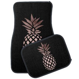 elegant clear rose gold foil tropical pineapple car floor carpet