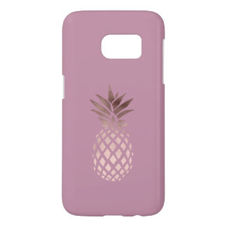 elegant clear rose gold foil tropical pineapple samsung galaxy s7 case