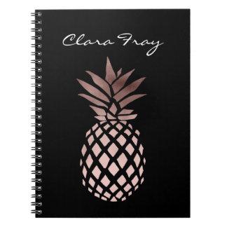 elegant clear rose gold foil tropical pineapple spiral notebook