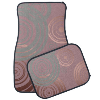 elegant clear rose gold grey geometric circles car mat