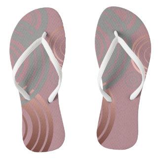 elegant clear rose gold grey geometric circles flip flops