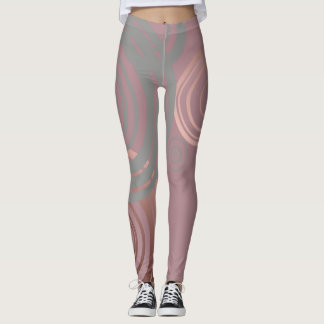 elegant clear rose gold grey geometric circles leggings