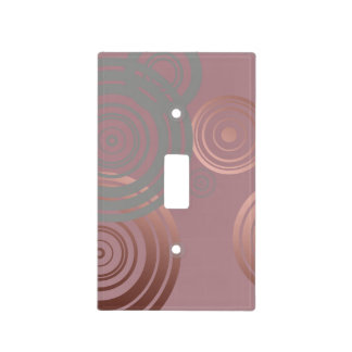 elegant clear rose gold grey geometric circles light switch cover