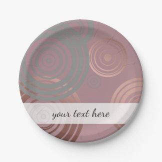 elegant clear rose gold grey geometric circles paper plate
