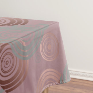 elegant clear rose gold grey geometric circles tablecloth