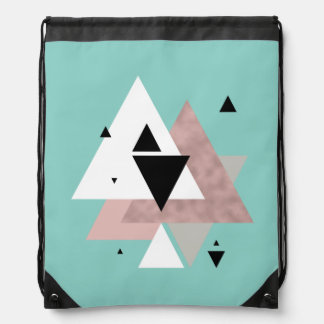 elegant clear rose gold mint geometric triangles drawstring bag