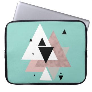 elegant clear rose gold mint geometric triangles laptop sleeve