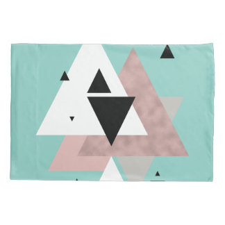 elegant clear rose gold mint geometric triangles pillowcase