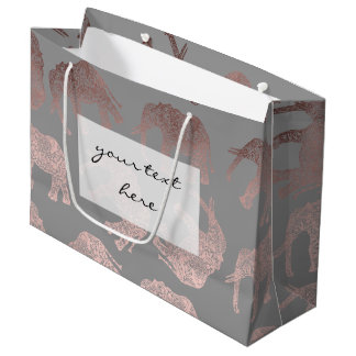 elegant clear rose gold tribal elephant pattern large gift bag