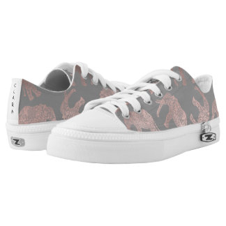 elegant clear rose gold tribal elephant pattern Low-Top sneakers