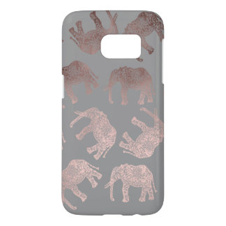 elegant clear rose gold tribal elephant pattern samsung galaxy s7 case