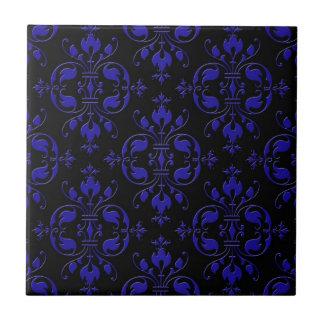 Elegant Cobalt Blue and Black Damask Ceramic Tile