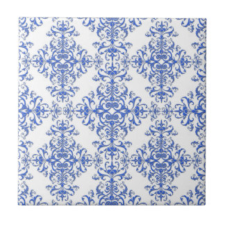 Elegant Cobalt Blue and White Floral Style Damask Tile