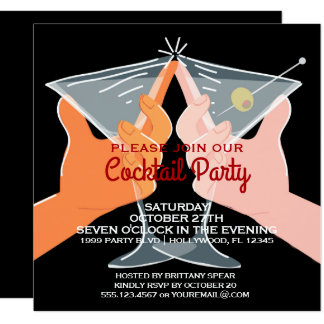 Elegant Cocktail Party Martinis Card