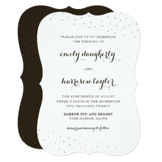 Elegant Cocoa and White with Delicate Dots Wedding Card