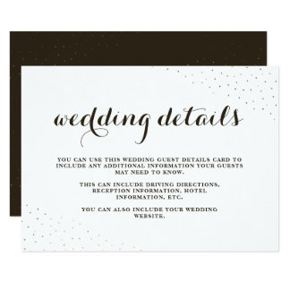 Elegant Cocoa and White with Dots Wedding Details Card