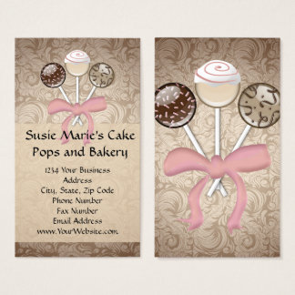 Elegant Cocoa Damask Cake Pop Business Cards
