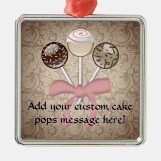 Elegant Cocoa Damask Cake Pop Silver-Colored Square Ornament