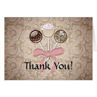Elegant Cocoa Damask Cake Pop Thank You Card