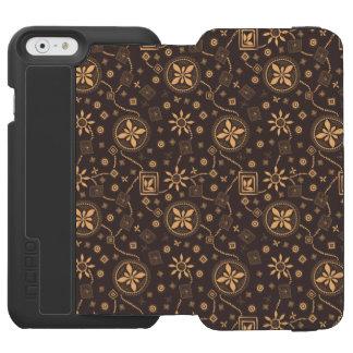 Elegant coffee floral whimsical pattern incipio watson™ iPhone 6 wallet case