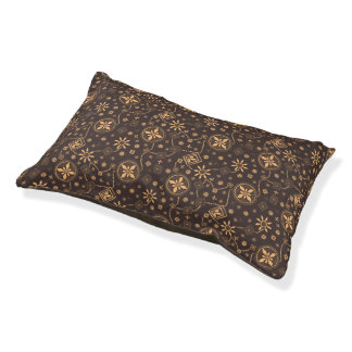 Elegant coffee floral whimsical pattern small dog bed