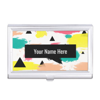 Elegant colorful abstract geometric pattern business card holder