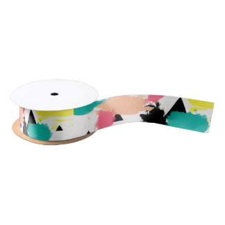 Elegant colorful abstract geometric pattern satin ribbon