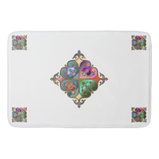 Elegant Colorful Arabesque Abstract Personalized Bath Mat